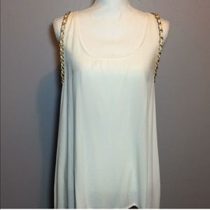 Imaginary Voyage Gold Chain White Racerback Top